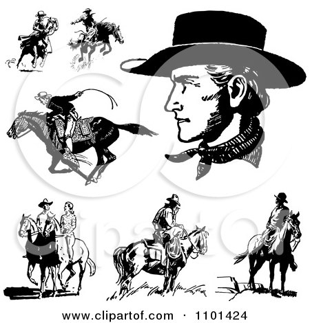 Clipart Retro Black And White Cowboys Horses And A Couple - Royalty Free Vector Illustration by BestVector