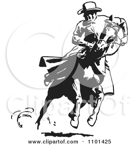 Clipart Retro Black And White Cowboy Looking Back On A Running Horse - Royalty Free Vector Illustration by BestVector