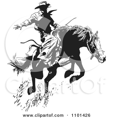 Clipart Retro Black And White Wrangler Cowboy On A Leaping Horse - Royalty Free Vector Illustration by BestVector
