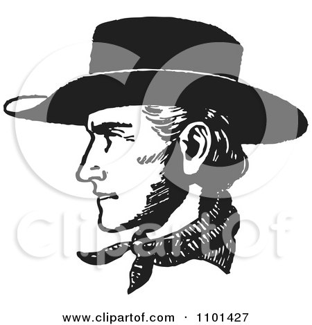 Clipart Retro Black And White Cowboy Face In Profile - Royalty Free Vector Illustration by BestVector