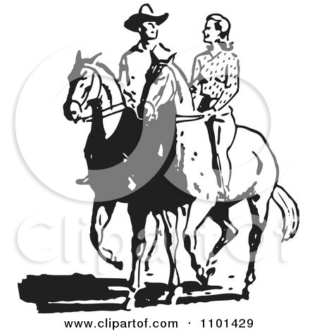 Clipart Retro Black And White Cowboy And Woman On Horses - Royalty Free Vector Illustration by BestVector