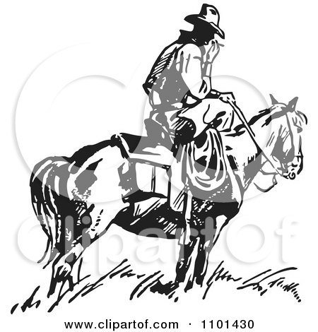 Clipart Retro Black And White Wrangler Cowboy Smoking On A Horse - Royalty Free Vector Illustration by BestVector