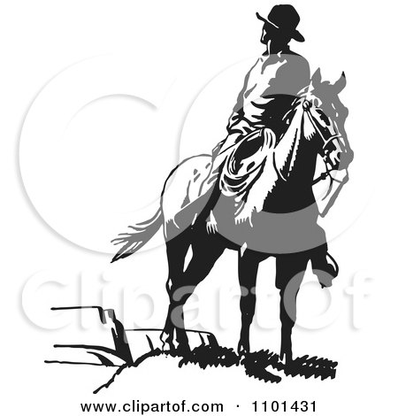 Clipart Retro Black And White Wrangler Cowboy Looking Back On A Horse - Royalty Free Vector Illustration by BestVector