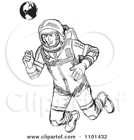 Clipart Retro Black And White Astronaut Floating With Earth In The Background - Royalty Free Vector Illustration by BestVector