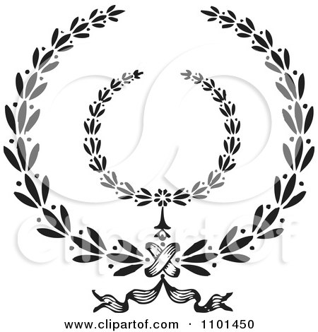 Clipart Black And White Wreath Design Element 1 - Royalty Free Vector Illustration by BestVector