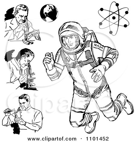Clipart Retro Black And White Scientists Astronaut Earth And Atom - Royalty Free Vector Illustration by BestVector