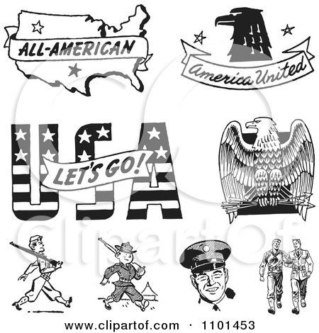 Clipart Retro Black And White American Icons And Military Soliders - Royalty Free Vector Illustration by BestVector