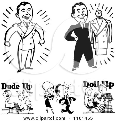 Clipart Retro Black And White Handsome Men And Barbers - Royalty Free Vector Illustration by BestVector
