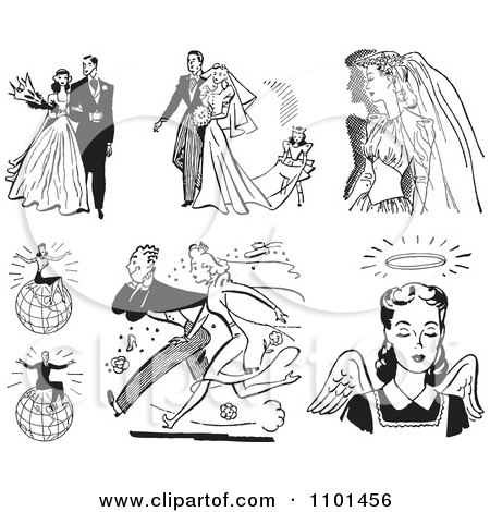 Clipart Retro Black And White Wedding Couples Successful People And Angel - Royalty Free Vector Illustration by BestVector
