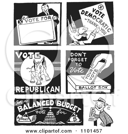 Clipart Retro Black And White Politicians And Voters - Royalty Free Vector Illustration by BestVector