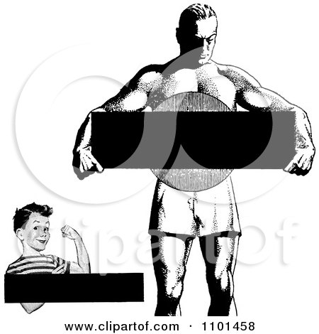 Clipart Retro Black And White Strong Boy And Man With Copyspace - Royalty Free Vector Illustration by BestVector