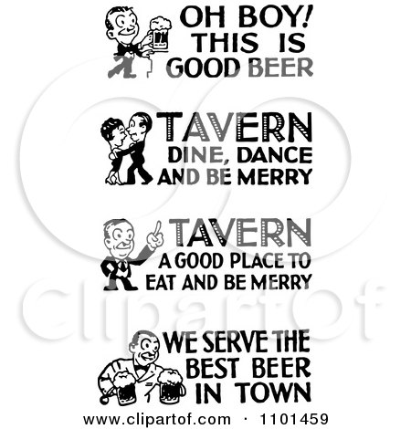 Clipart Retro Black And White People With Tavern And Bar Text - Royalty Free Vector Illustration by BestVector