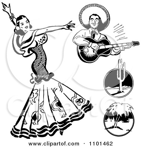 Clipart Retro Black And White Beautiful Mexican Flaminco Dancer - Royalty Free Vector Illustration by BestVector