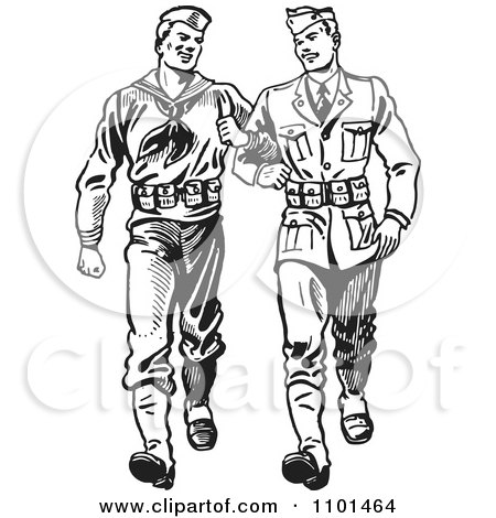 Clipart Retro Black And White Soldiers Walking Arm In Arm - Royalty Free Vector Illustration by BestVector