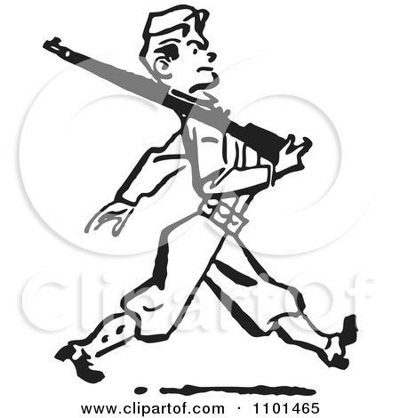 Clipart Retro Black And White Military Soldier Marching With A Rifle - Royalty Free Vector Illustration by BestVector