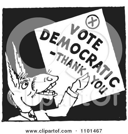 Retro Black And White Politician Donkey With A Vote Democratic Thank You Sign Posters, Art Prints