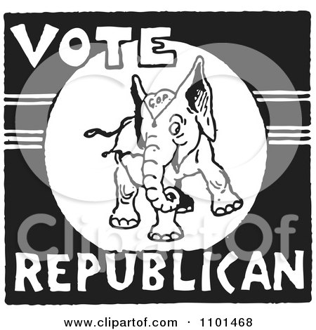 Clipart Retro Black And White Vote Republican Elephant - Royalty Free Vector Illustration by BestVector