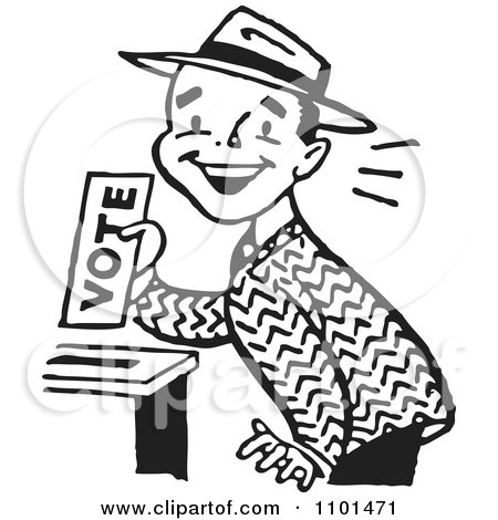 Clipart Retro Black And White Happy Man Casting His Vote - Royalty Free Vector Illustration by BestVector