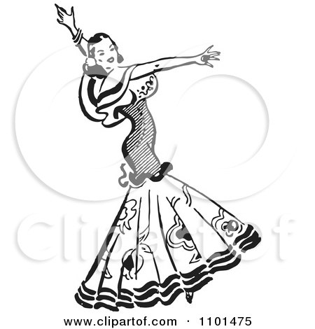 Retro Black And White Beautiful Mexican Flaminco Dancer Posters, Art Prints