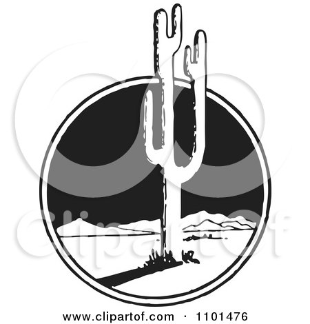 Clipart Retro Black And White Mexican Desert Landscape And Cactus - Royalty Free Vector Illustration by BestVector