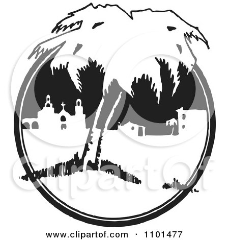 Clipart Retro Black And White Mexican Belfry Church And Buildings With Trees - Royalty Free Vector Illustration by BestVector