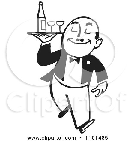 Clipart Retro Black And White Waiter Carrying Wine And Glasses On A Tray - Royalty Free Vector Illustration by BestVector