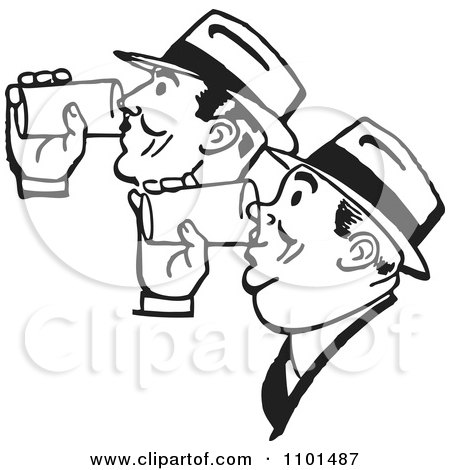 Clipart Retro Black And White Men Drinking Beer Together - Royalty Free Vector Illustration by BestVector