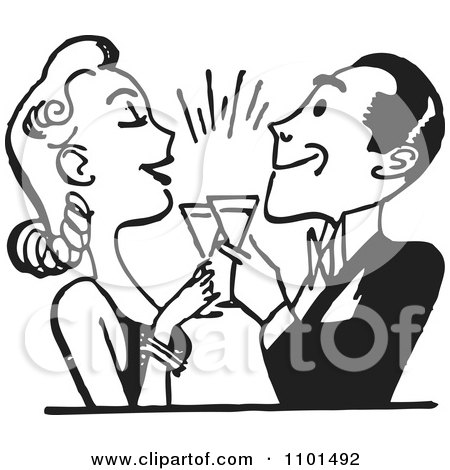 Clipart Retro Black And White Couple Toasting - Royalty Free Vector Illustration by BestVector