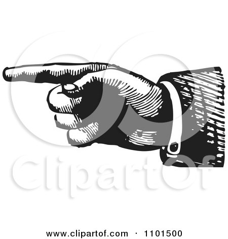Clipart Retro Black And White Hand Pointing To The Left - Royalty Free Vector Illustration by BestVector
