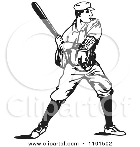 Clipart Retro Black And White Baseball Player Batting - Royalty Free Vector Illustration by BestVector