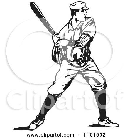 Clipart Retro Black And White Baseball Player Batting Royalty Free Vector Illustration