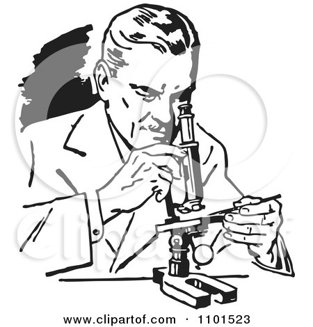 Clipart Retro Black And White Scientist Using A Microscope - Royalty Free Vector Illustration by BestVector