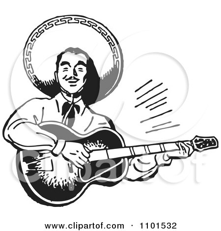Clipart Retro Black And White Happy Mexican Mariachi Guitarist - Royalty Free Vector Illustration by BestVector