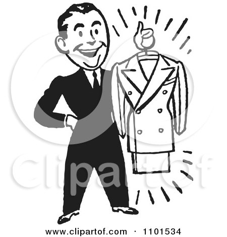 Clipart Retro Black And White Male Personal Shopper Holding A Business Dress Suit - Royalty Free Vector Illustration by BestVector