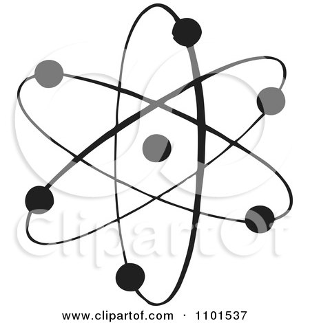 Clipart Retro Black And White Atom - Royalty Free Vector Illustration by BestVector