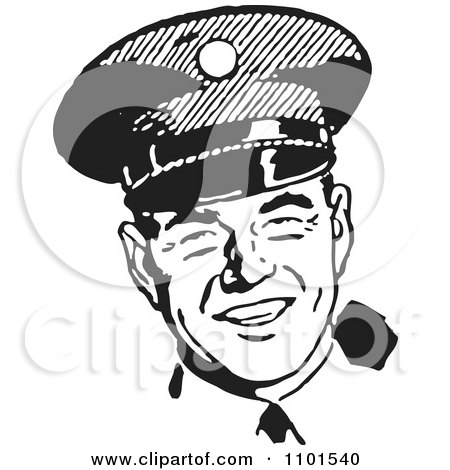 Clipart Retro Black And White Happy Police Officer Royalty Free Vector Illustration