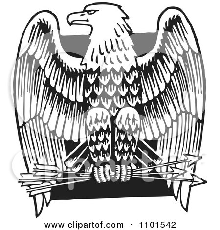 Clipart Retro Black And White American Bald Eagle With Arrows Over A Black Square - Royalty Free Vector Illustration by BestVector