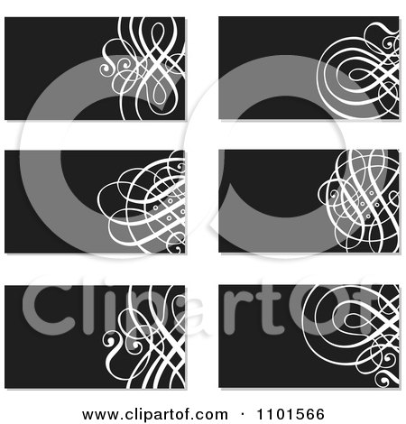 Clipart Black And White Ornate Business Cards With Swirls - Royalty Free Vector Illustration by BestVector