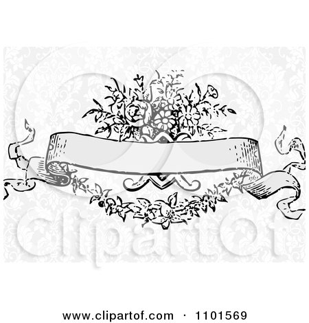 Clipart Victorian Floral Banner Over Gray Damask - Royalty Free Vector Illustration by BestVector