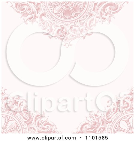 Clipart Faded Ornate Pink Background With Wooden Designs And Copyspace - Royalty Free Vector Illustration by BestVector