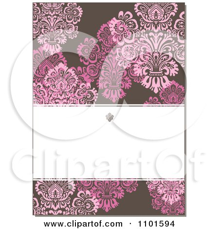 Clipart Brown Victorian Background With Pink Flowers And Copyspace - Royalty Free Vector Illustration by BestVector