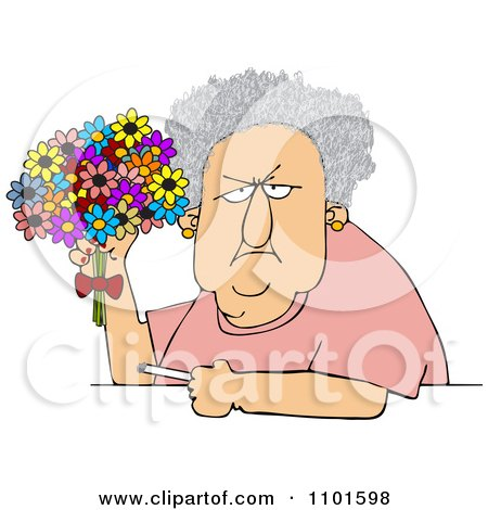 Clipart Grumpy Old Lady Holding A Bouquet Of Daisies And A Cigarette - Royalty Free Vector Illustration by djart