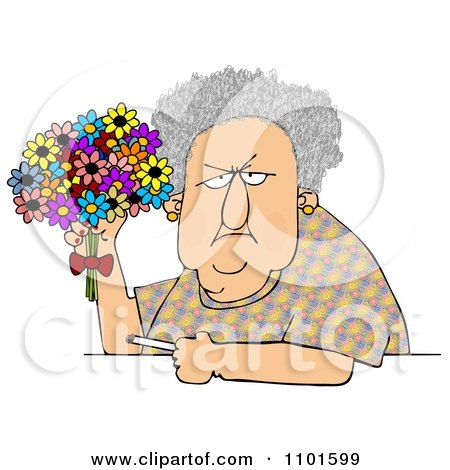 Clipart Grumpy Old Woman Holding A Bouquet Of Daisies And A Cigarette - Royalty Free Vector Illustration by djart
