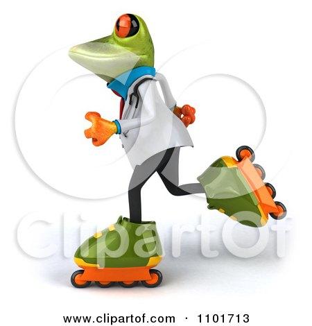 Clipart 3d Doctor Springer Frog Roller Blading 2 - Royalty Free CGI Illustration by Julos