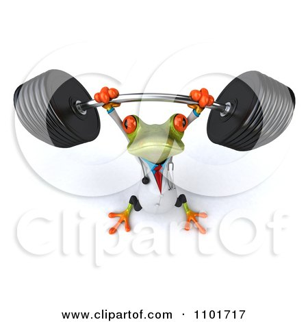 Clipart 3d Doctor Springer Frog Lifting A Barbell 3 - Royalty Free CGI Illustration by Julos