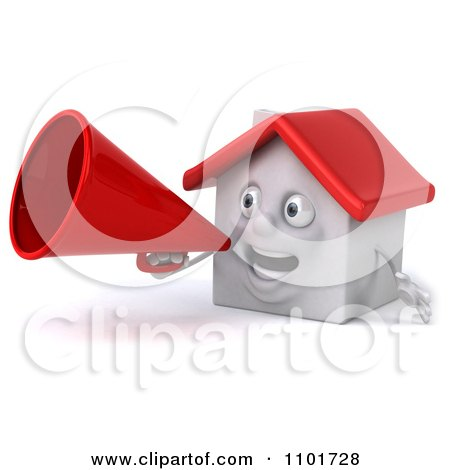 Clipart 3d White House Character Using A Megaphone 3 - Royalty Free CGI Illustration by Julos