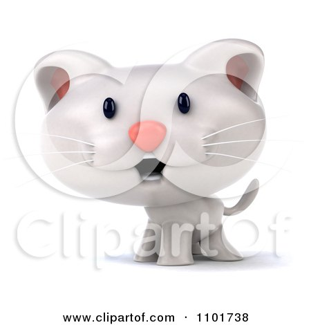 Clipart 3d Cute White Kitten - Royalty Free CGI Illustration by Julos