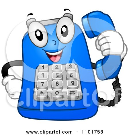 Clipart Happy Blue Desk Telephone Mascot Holding A Receiver - Royalty Free Vector Illustration by BNP Design Studio