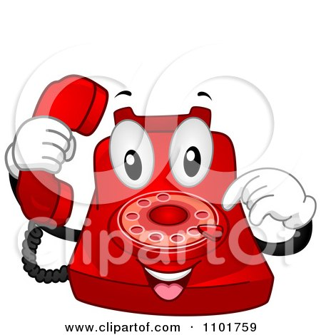 Clipart Happy Red Desk Telephone Mascot Dialing - Royalty Free Vector Illustration by BNP Design Studio