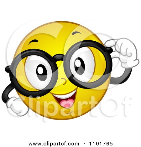 Clipart Nerdy Yellow Smiley With Glasses - Royalty Free Vector Illustration by BNP Design Studio